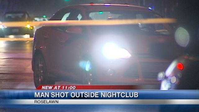A 28 year old man is in critical condition tonight after being shot outside a Roselawn night spot
