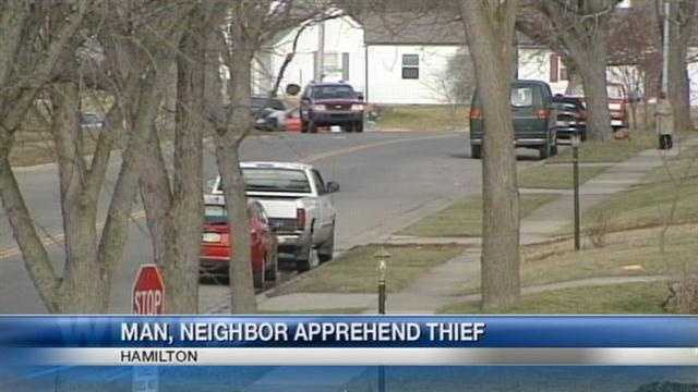 Neighbors in Hamilton stopped a man they say was trying to break into cars.