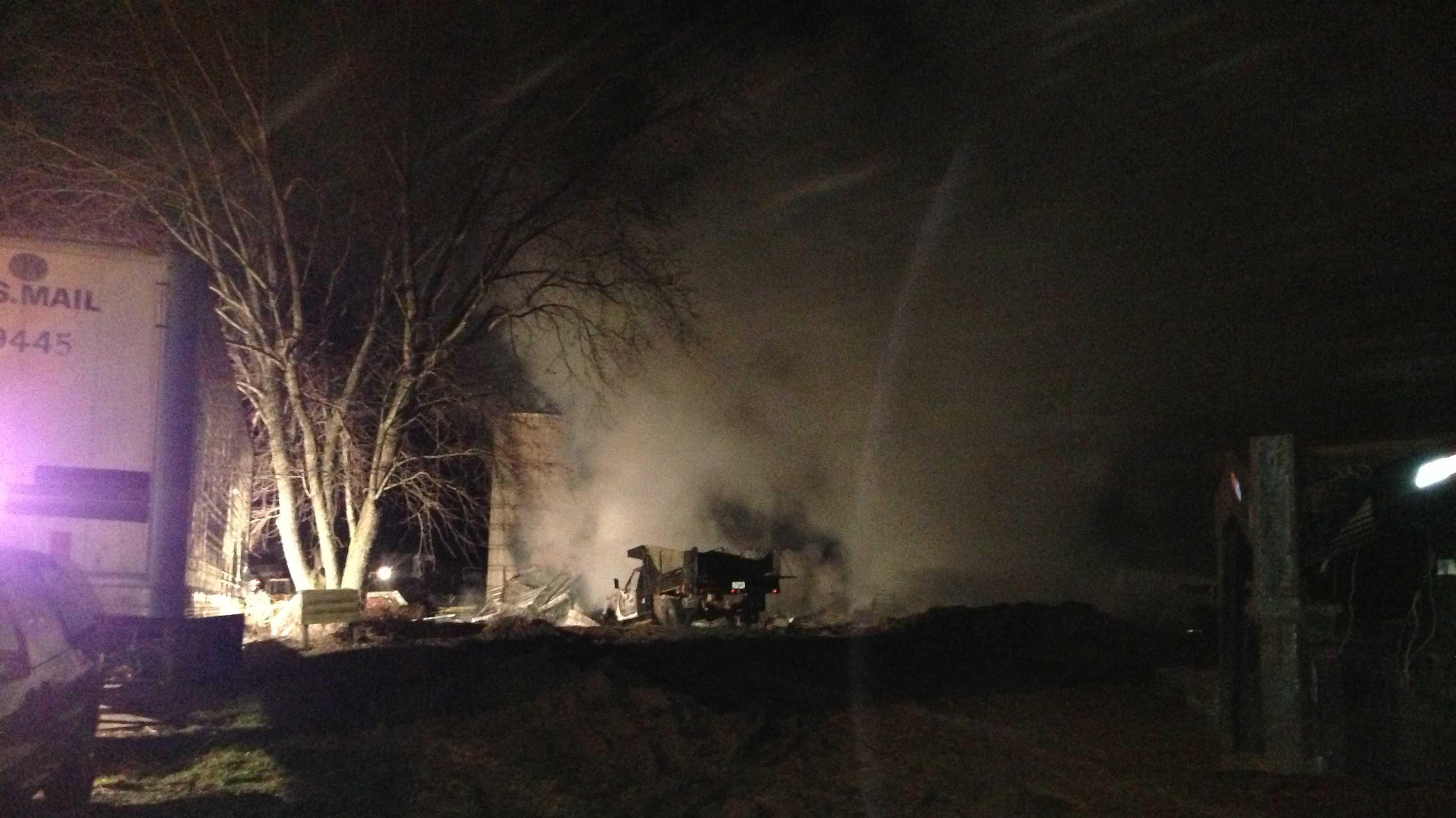 Barn destroyed by fire in burlington