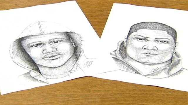 Police on Tuesday released new sketches of the robbers who shot a man in front of another man and his child in College Hill on Feb. 11.