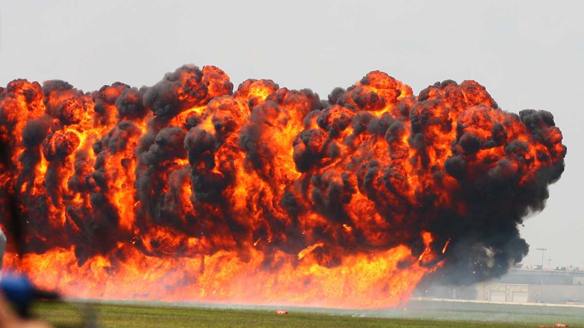 A pyrotechnic explosion at the 2010 Vectren Dayton Air Show, part of a Pearl Harbor re-enactment.
