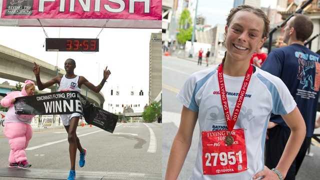 Toyota 10K race winners Paul Odipo and Chelsea Koglmeier