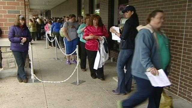 """People lined up to lose as the casting call for NBC's hit show """"The Biggest Loser"""" rolled through Cincinnati on Saturday."""