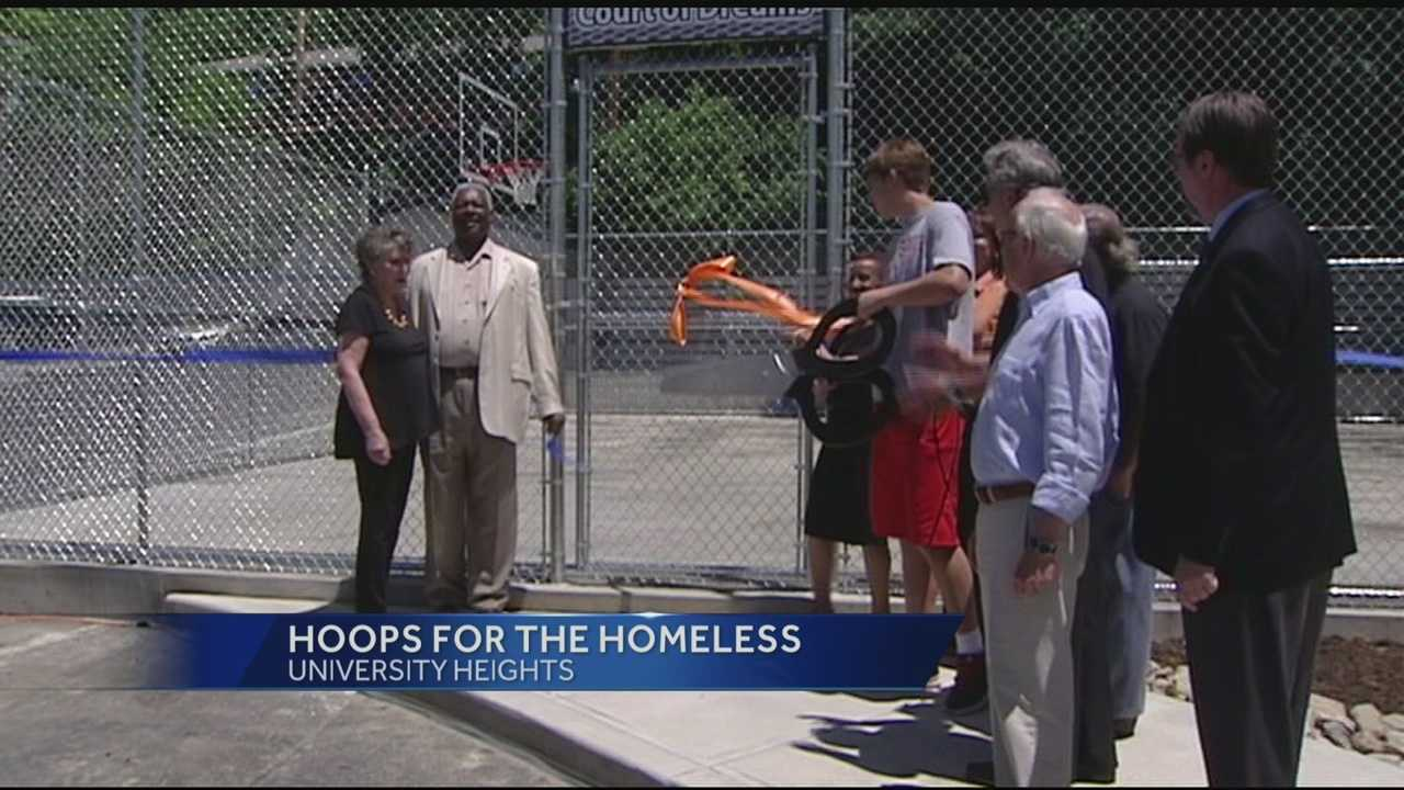 Oscar Robertson was on hand Tuesday to dedicate a new basketball court at the Talbert House in University Heights. The project is called Hoops for the Homeless.