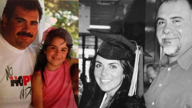 Alison Montoya and her dad, Max, left in 1989 and right in 2005.