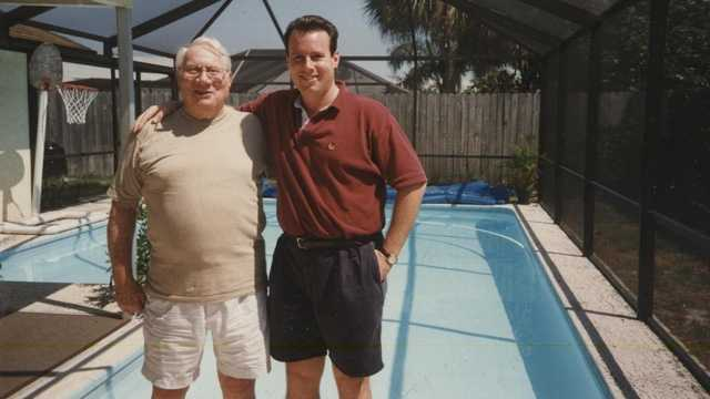 Mike Dardis with his dad, Marty, in 1998.