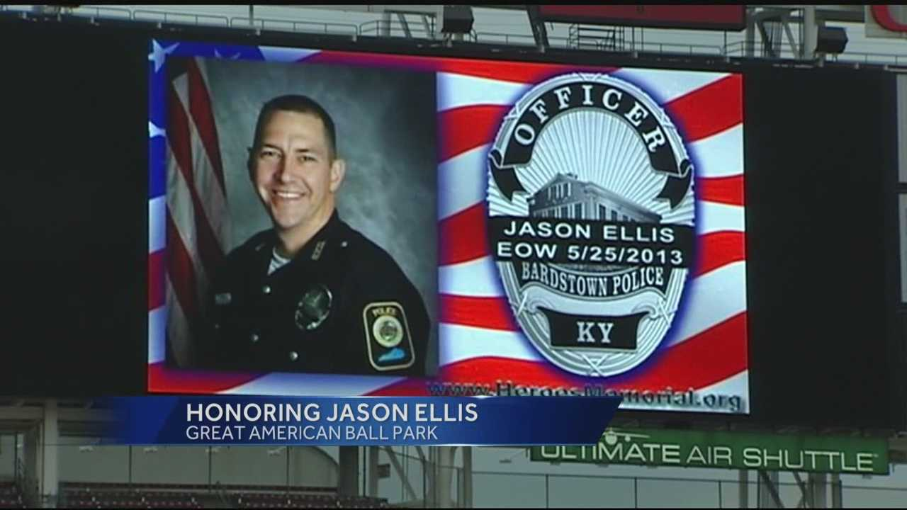 The family of a fallen police officer was honored by the Cincinnati Reds.