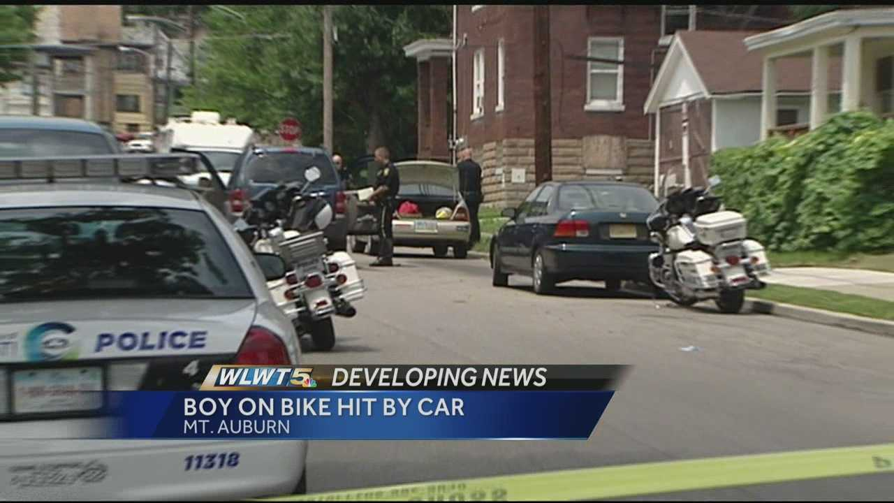 A 9-year-old boy is in critical condition after he was struck by a vehicle in Mt. Auburn.