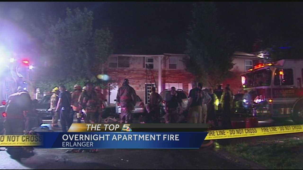 No injuries were reported in an overnight fire that forced several people from their homes.
