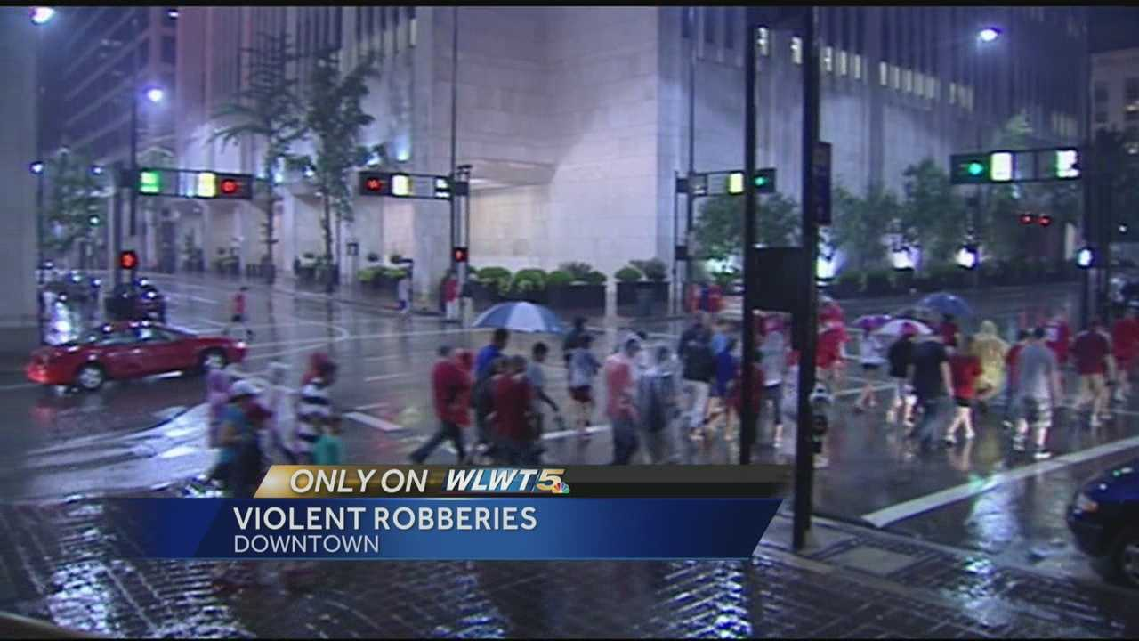 Police say innocent people were beaten and robbed right in the heart of downtown.