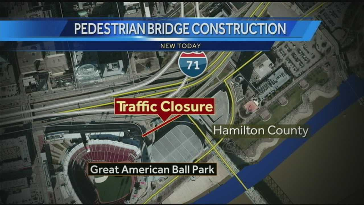 The area closing is between Great American Ballpark and US Bank Arena on Pete Rose Way. The closure stretches from Broadway to Johnny Bench Way.