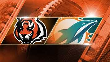 BENGALS LOSE in OT 20-22. Week 9: Bengals at Dolphins: The Bengals fly to Miami to play the Dolphins on Thursday, Oct. 31 at 8:25 p.m. on WLWT.