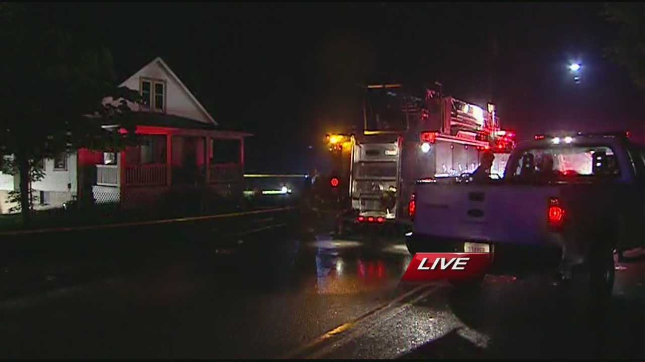 Numerous fire engines and police are on the scene of a house fire in New Richmond.