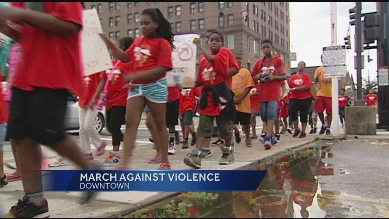 Hundreds of children from across the Tri-state marched to Cincinnati City Hall on Monday as part of the March Against Violence. The march comes as the City of Cincinnati looks to select a new police chief and combats a rise in crime.