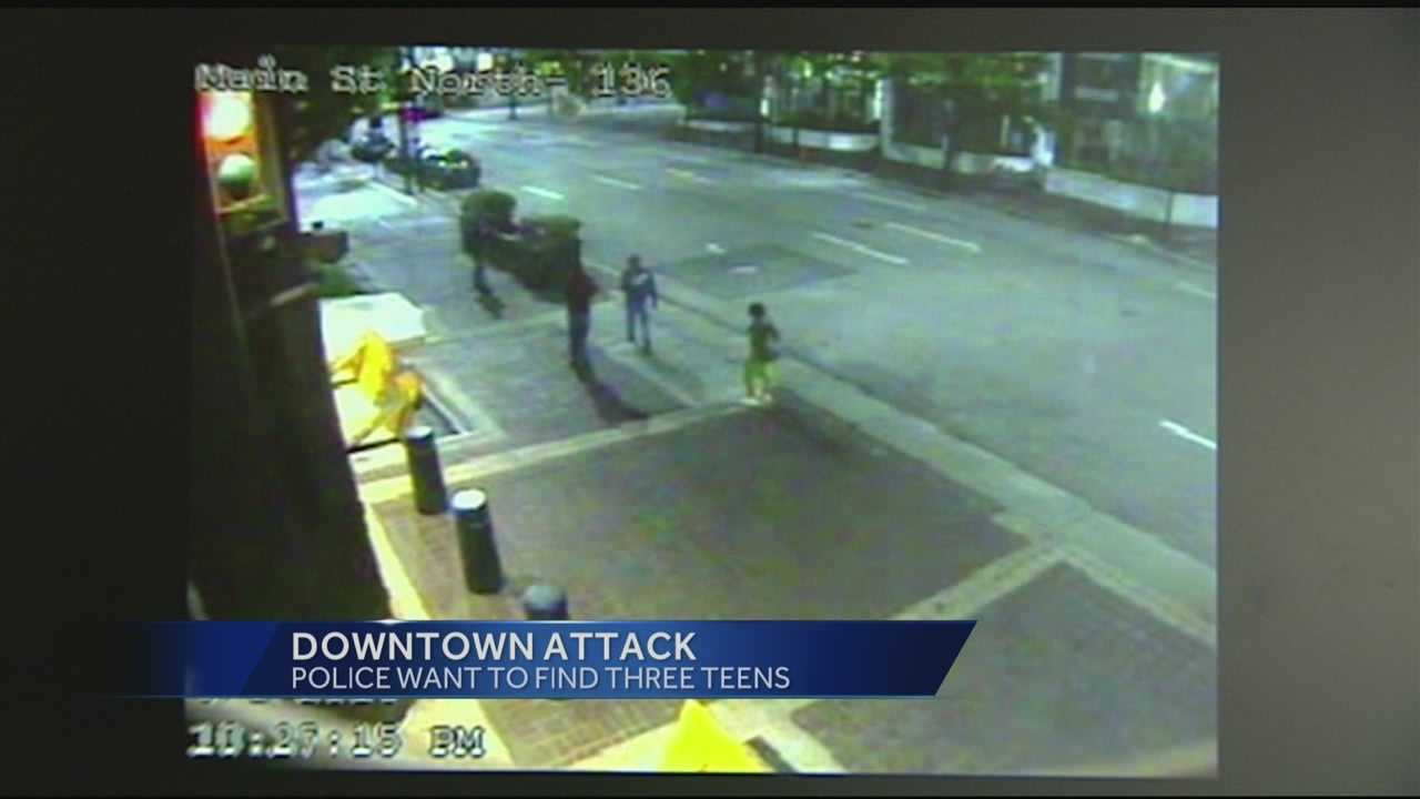 Police are seeking three young males after an attack downtown was caught on camera.