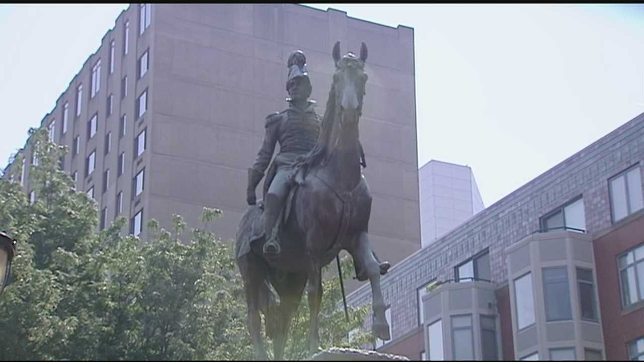 The statue of President William Henry Harrison in downtown Cincinnati is mysteriously missing its sword.