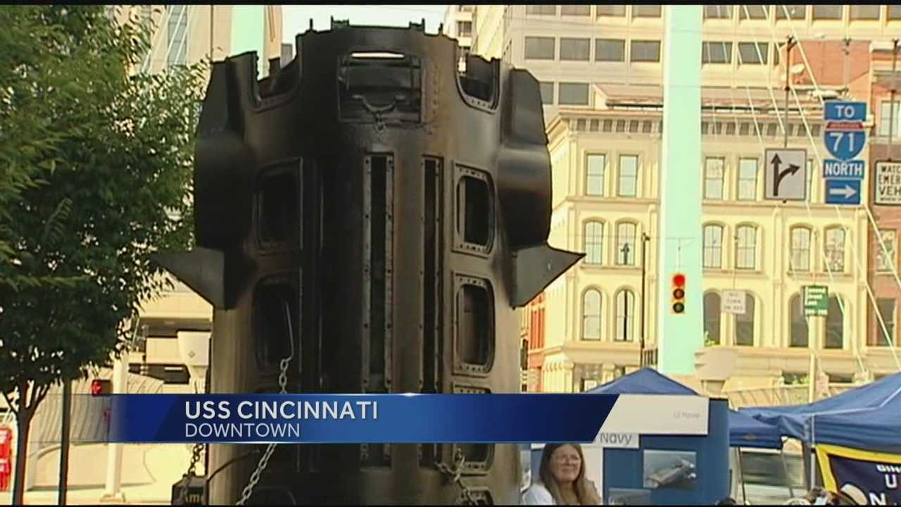 After more than 10 years of planning, parts of a former nuclear submarine arrived in Cincinnati Saturday.