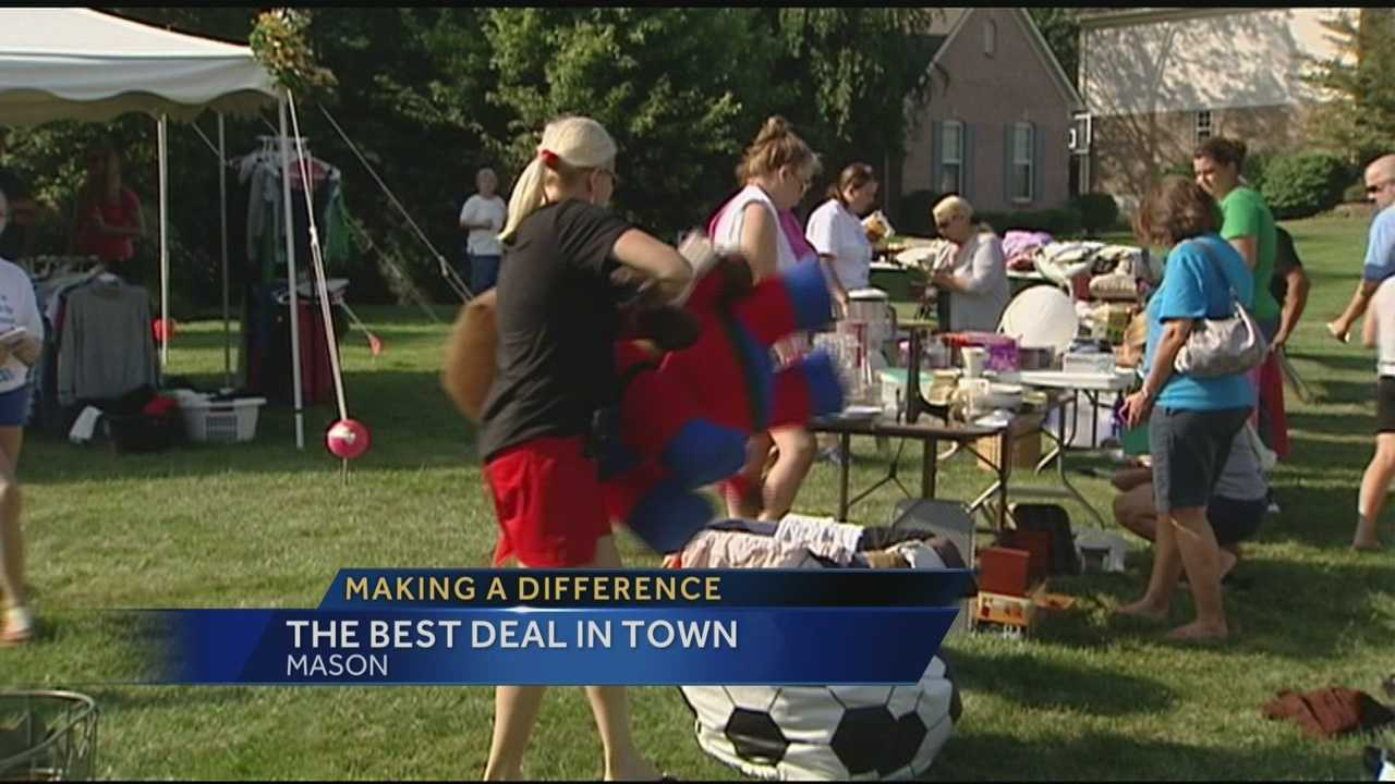 A Mason student organized a giant yard sale this holiday weekend.