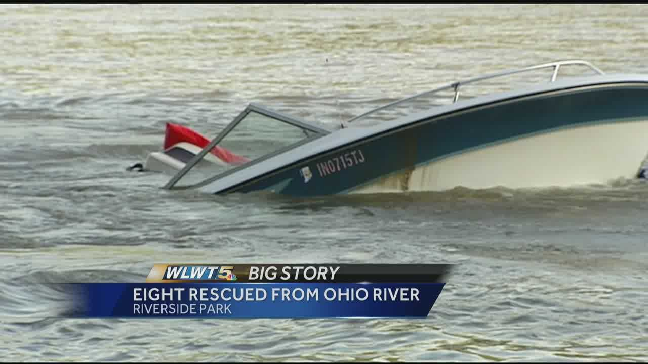 Cincinnati police and firefighters were on the scene after a boat sank on the Ohio River.