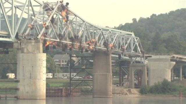 Crews dismantling the old bridge between Milton, Ky. and Madison, Ind., provided this video of the third demolition in the process.
