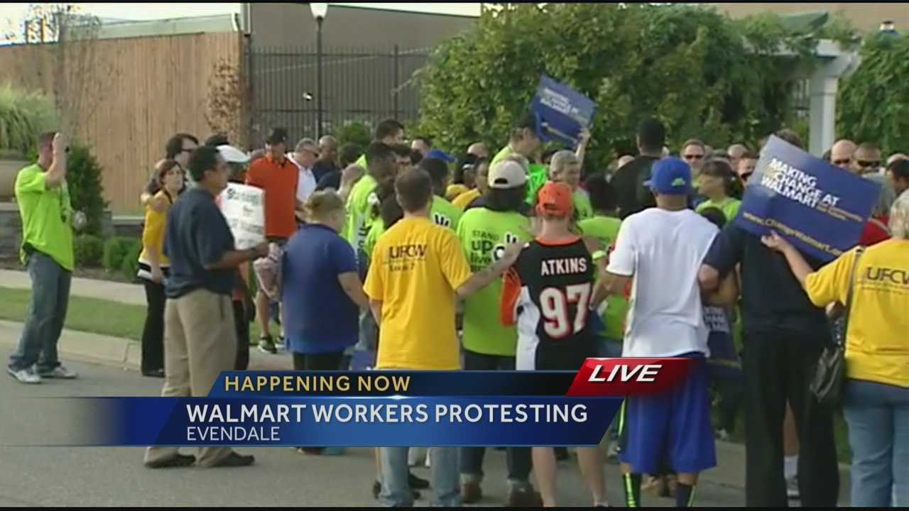 Walmart employees protest a higher wage and fairer working conditions.