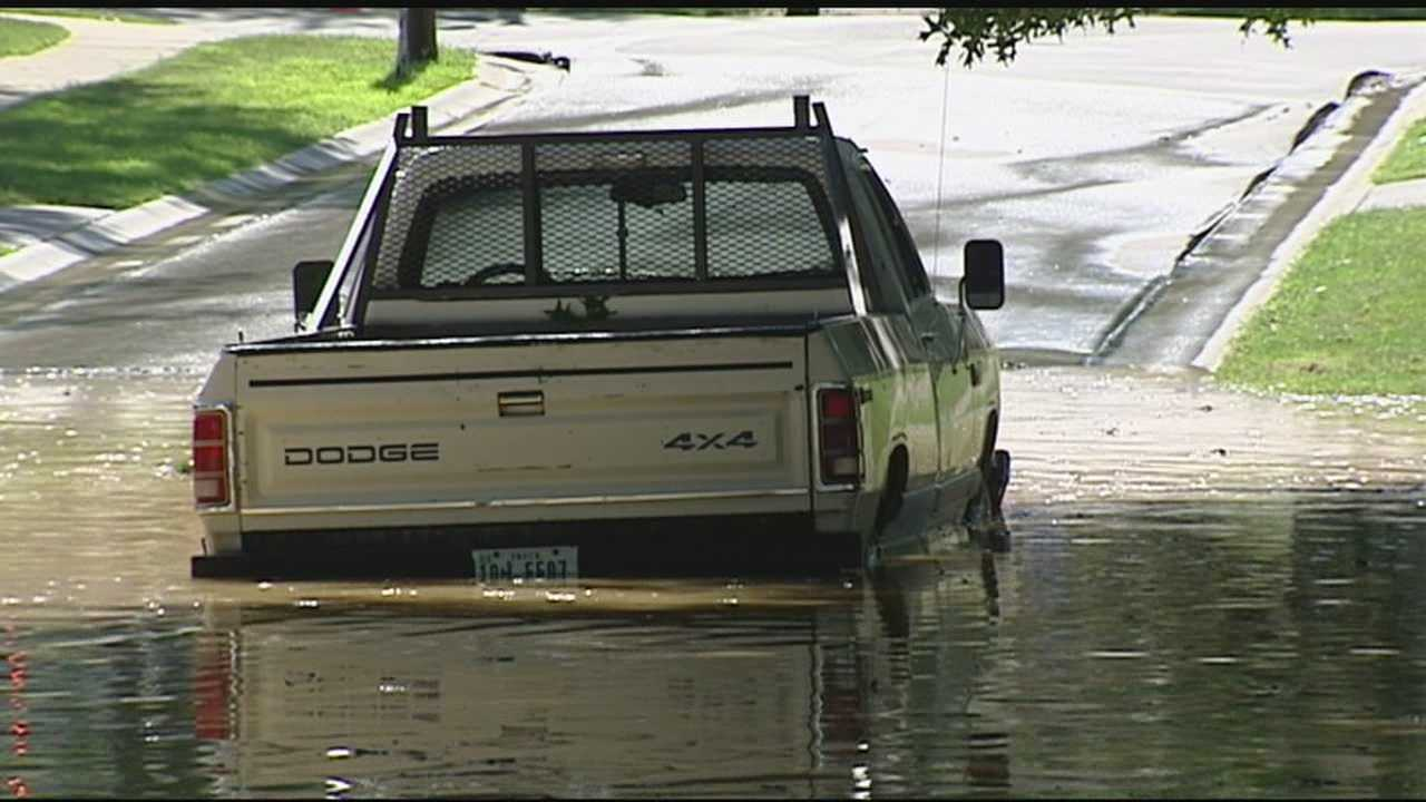 Crews were dealing with a watery mess in Newtown on Thursday.