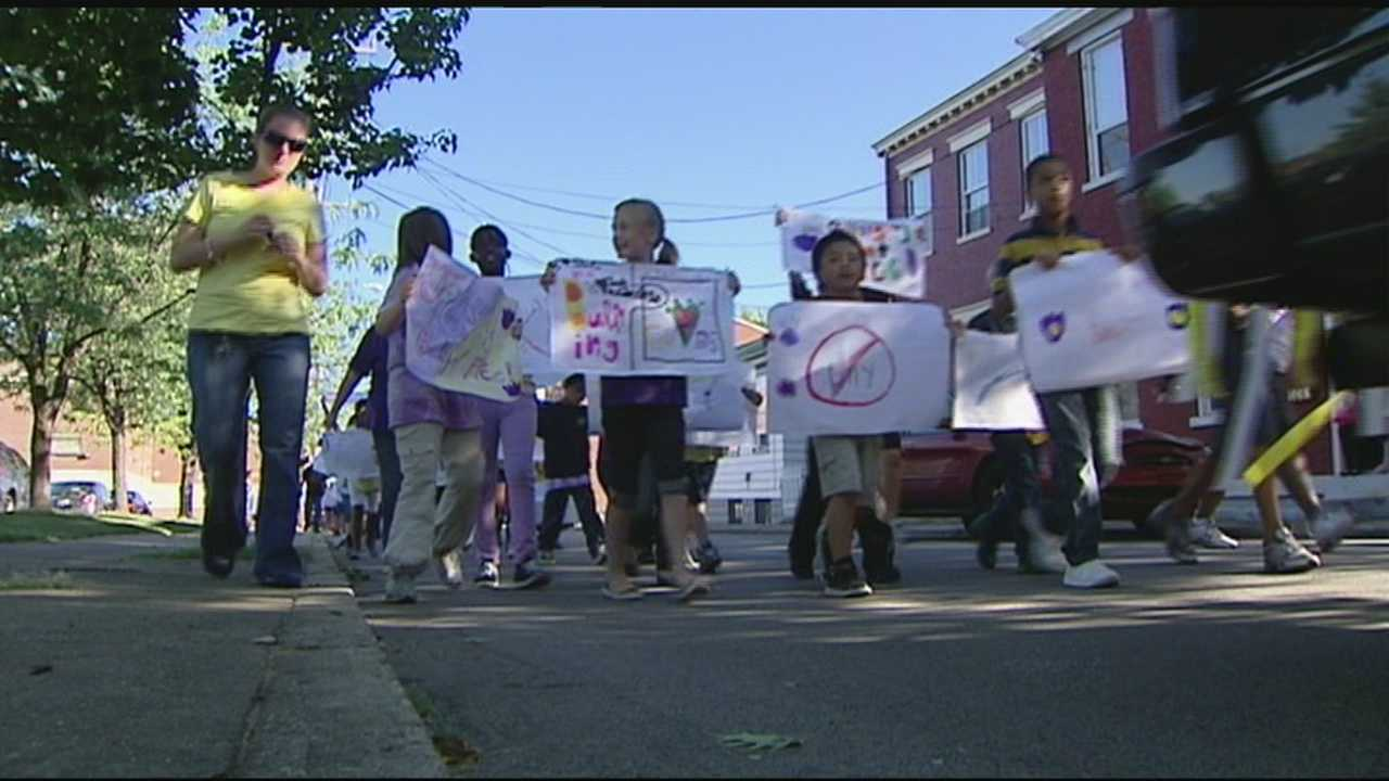 Students at John G. Carlisle Elementary School in Covington took to the streets Friday for a Bullying Prevention Parade.