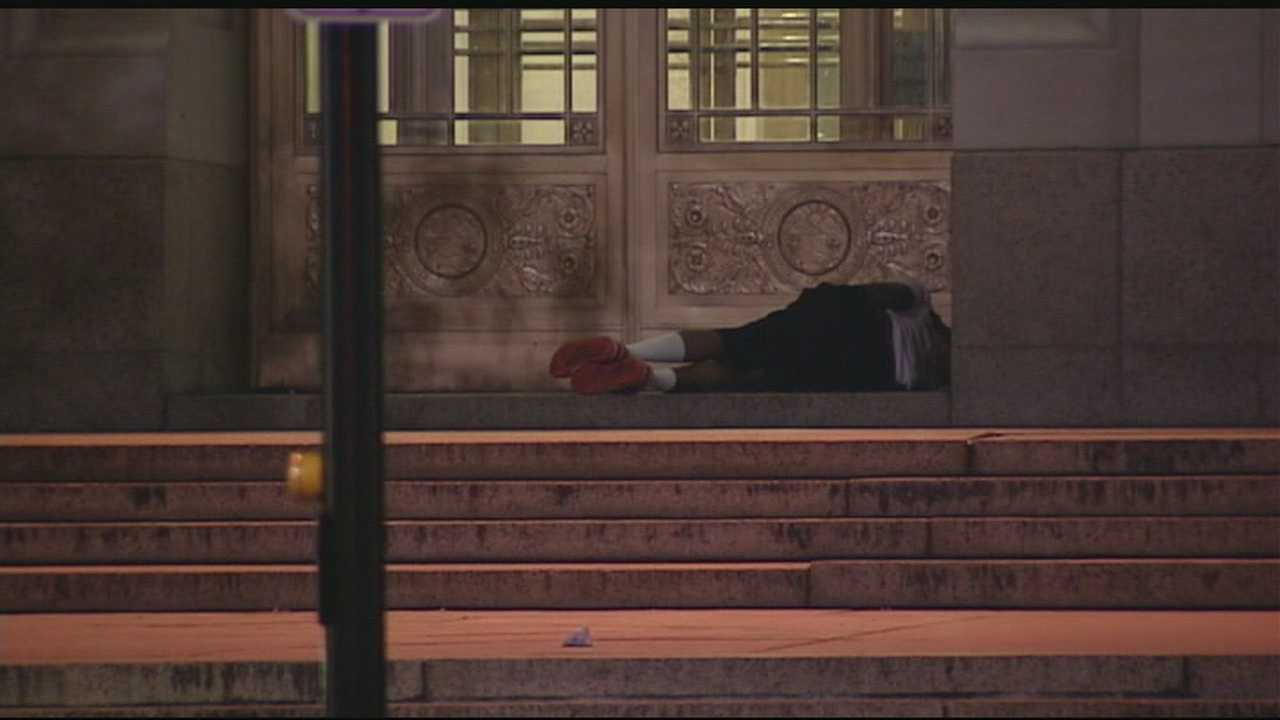 Sheriff working to get sleeping homeless off courthouse steps