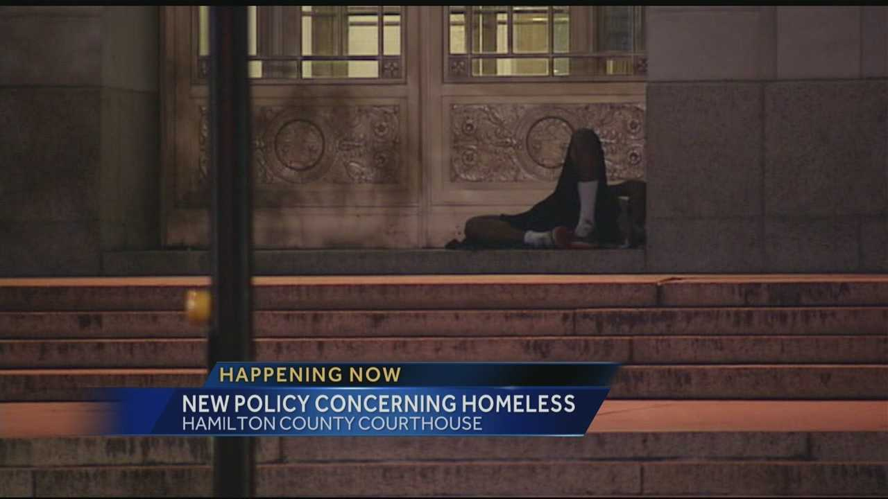 The Hamilton Co. Sheriff's Office is working with social service agencies to try to keep people from sleeping outside the courthouse