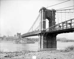 "The John A. Roebling Suspension Bridge, one of ""five fine bridges"" spanning the Ohio River (3 were railway bridges)"