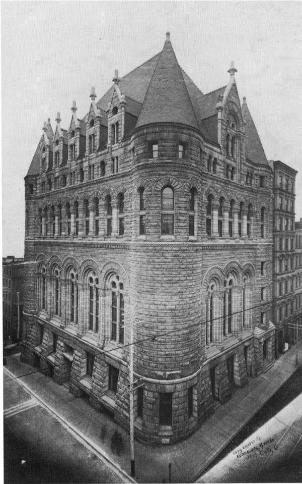 """The Cincinnati Chamber of Commerce building, designed by H.H. Richardson, """"perhaps the finest building in the city,"""" was destroyed by fire in 1911. It couldn't be rebuilt because owners discovered that the insurance carried on the building would only cover about 10 percent of the rebuilding cost."""