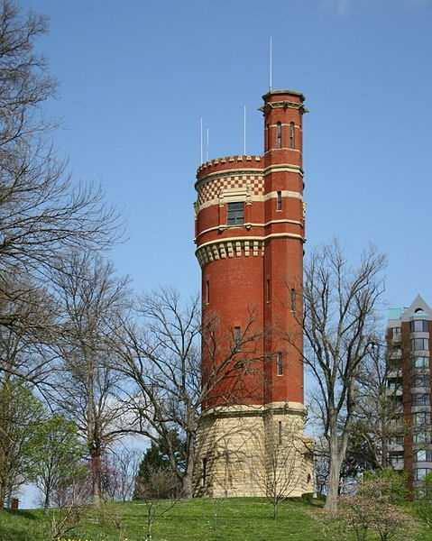 """The Eden Park water tower """"a prominent landmark, affords the best view of the city and its environs, the river and the Kentucky Highlands."""" It was decommissioned in 1916 and is no longer publicly accessible."""