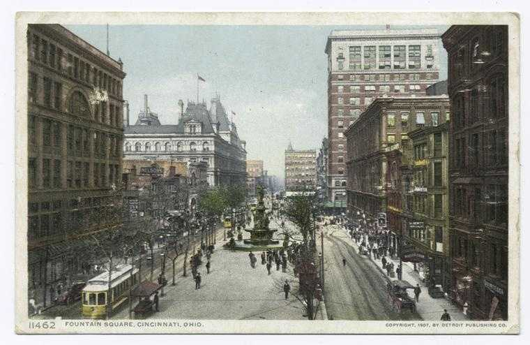 """Fountain Square """"may, perhaps, be called the business-centre of the city and from it start most of the tramway-lines."""""""