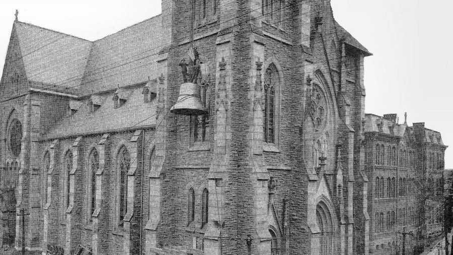 """""""The church of St. Francis de Salles, in Walnut Hills, contains the largest bell in North America."""" This photo of """"Big Joe"""" is from when the bell was being installed in 1895."""
