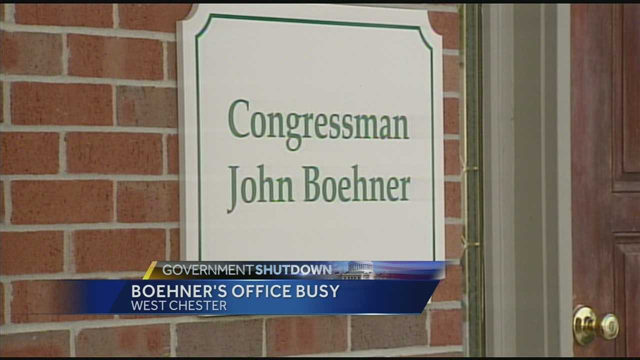 Speaker of the House John Boehner's West Chester office was not closed because of the shutdown. But about half of his staff has been furloughed.