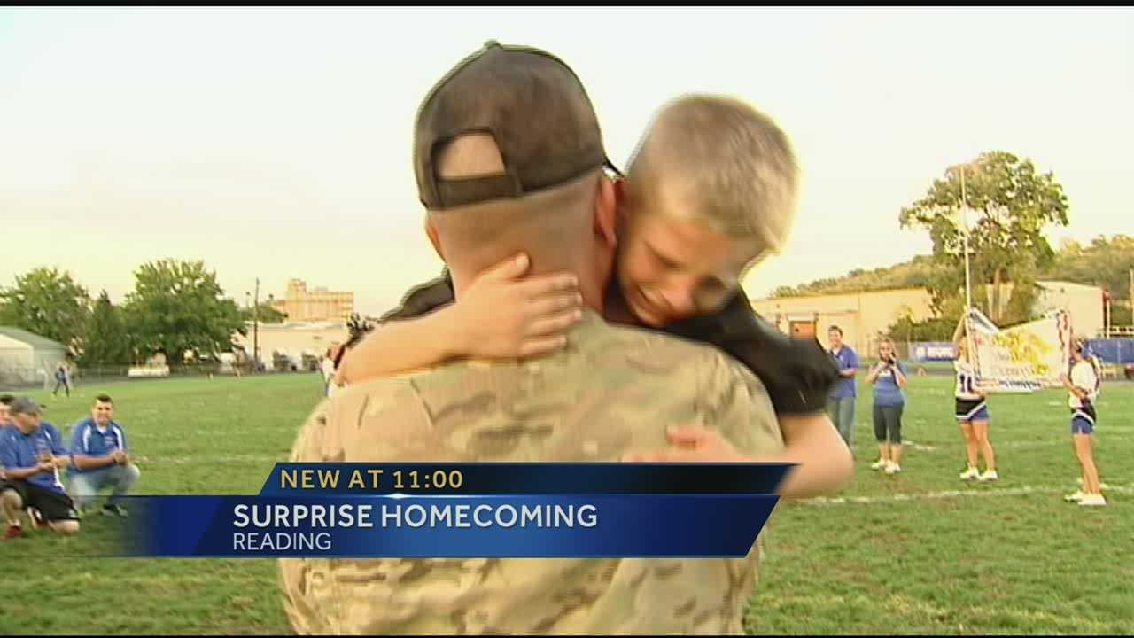 A soldier from Reading surprised his children after a year in Afghanistan.