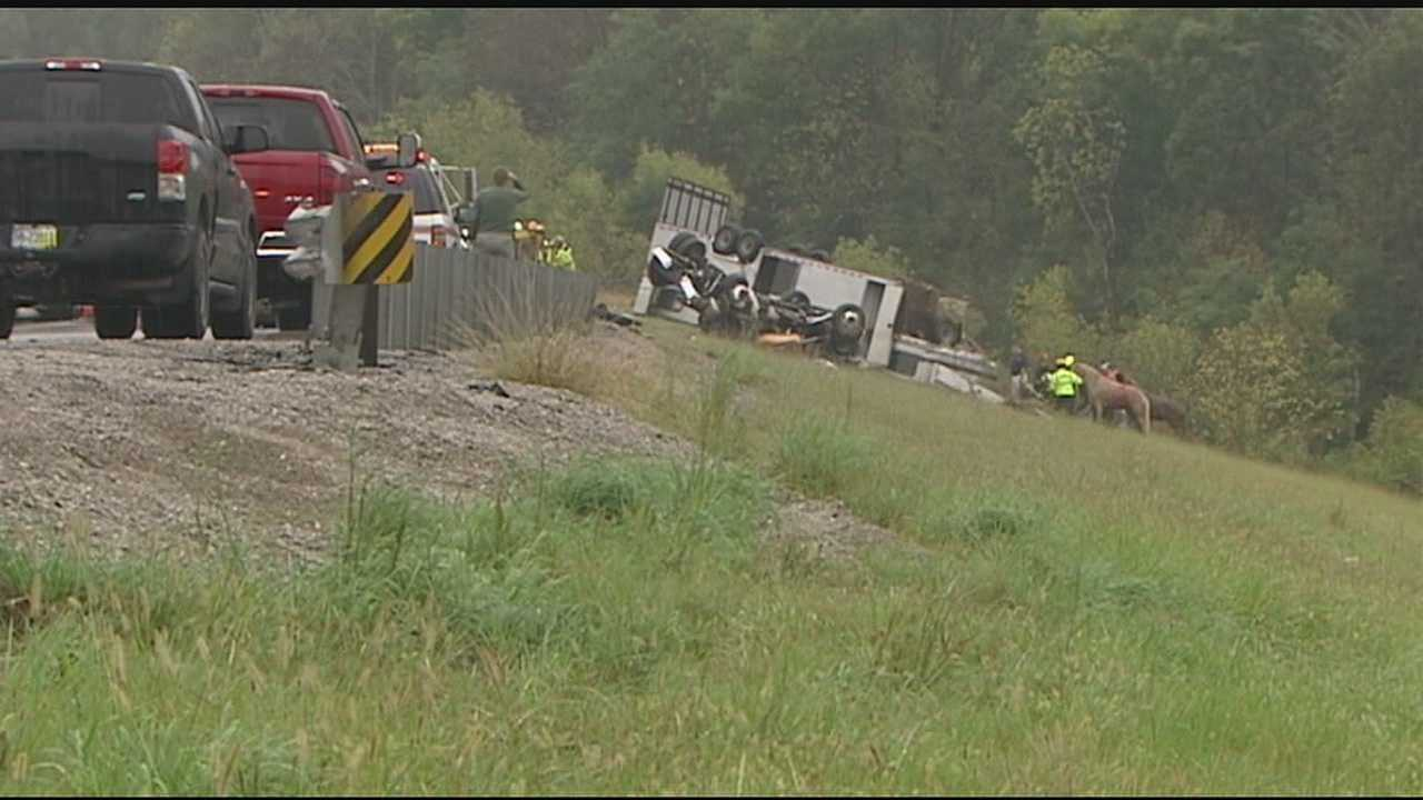 Gallatin County Sheriff's deputies said one man and three horses were killed in an accident on Interstate 71 near Glencoe, Ky., Sunday morning.