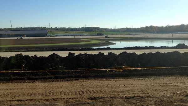 The track was still being built just after the racino opened in December.