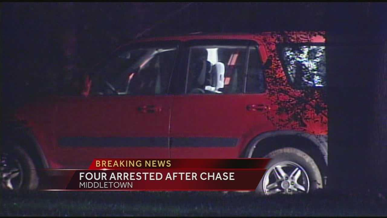 Police took four people into custody after a chase ended in MIddletown overnight.