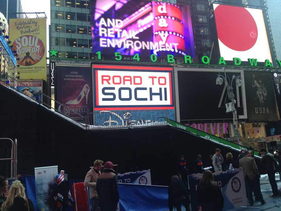 An event was held in Times Square on Tuesday to mark 100 days until the 2014 Winter Olympics begin in Sochi, Russia.