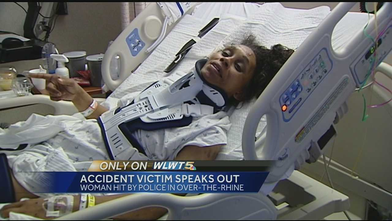 The woman struck by a Cincinnati Police cruiser breaks her silence.