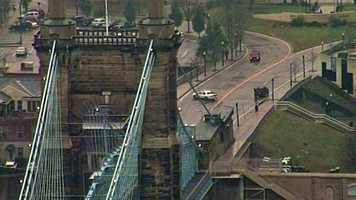 Roebling Bridge was closed due to ice Friday morning.