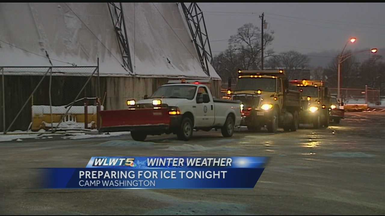 Road crews in Cincinnati and around the Tri-State are preparing as more ice could fall Sunday night.