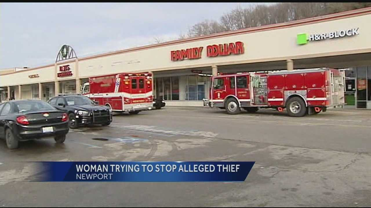 Newport police said the store clerks tried to stop the woman after the store alarm went off.