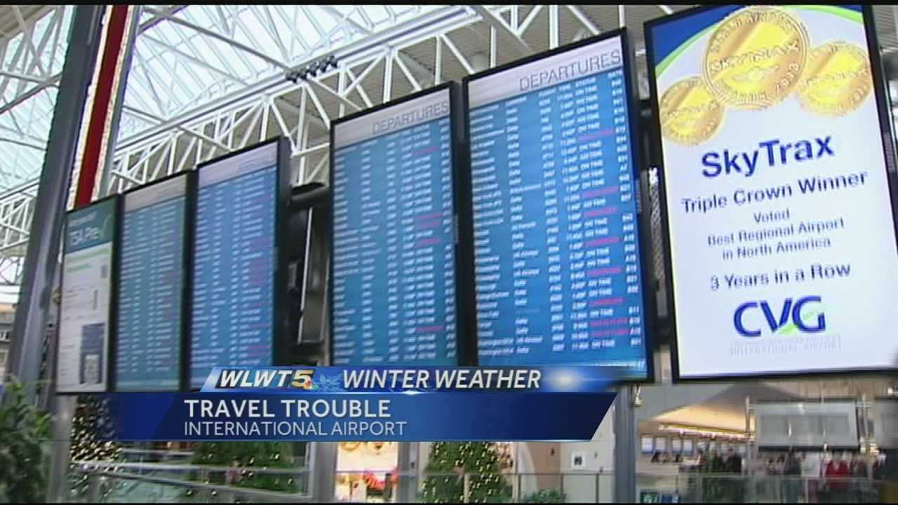 A large snow and ice storm canceled flights across the country, including in Cincinnati.