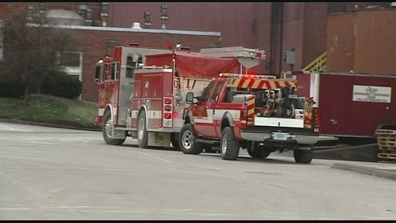 Firefighters from several departments responded to the factory Monday afternoon.