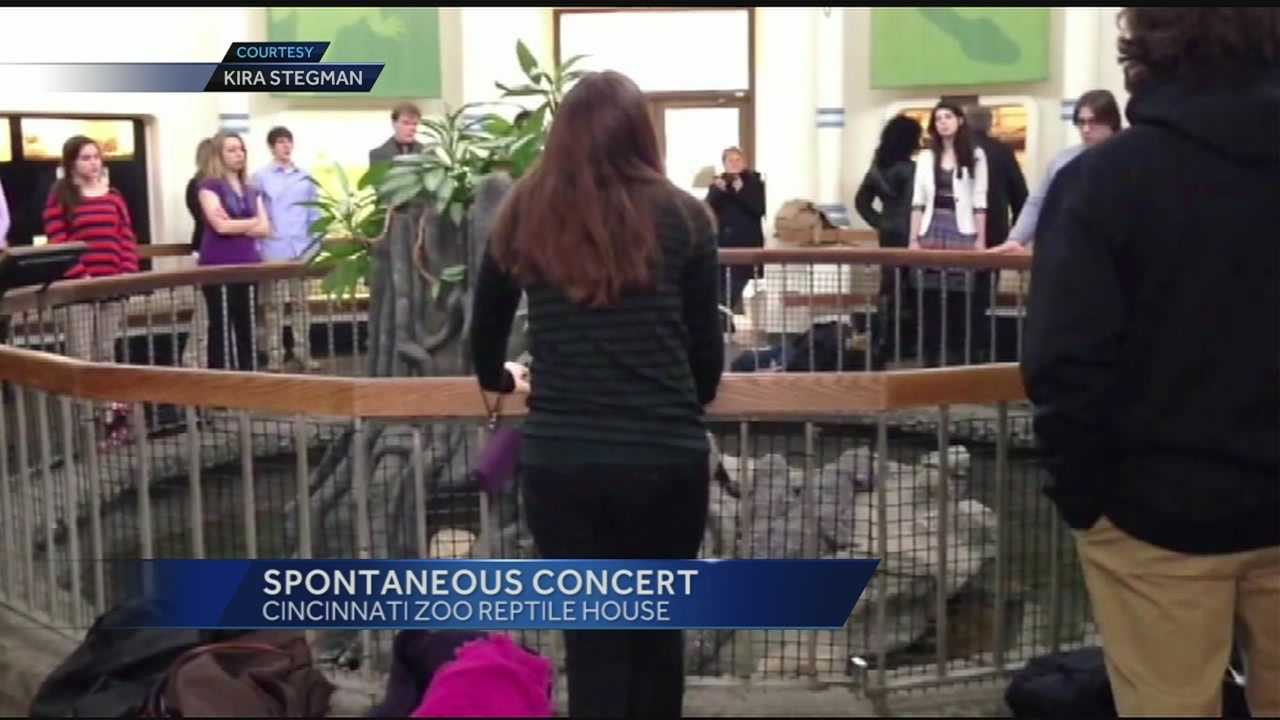 When some members of the Harding University choir wandered into the Cincinnati Zoo's reptile house, they noticed the acoustics and performed a spontaneous concert.