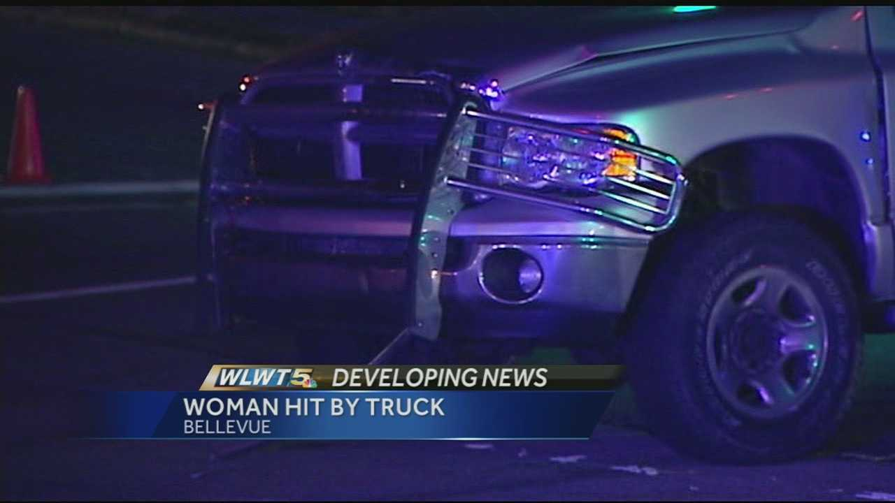 A woman was hit by a pickup truck while crossing the street on Memorial Parkway in Bellevue, Ky.