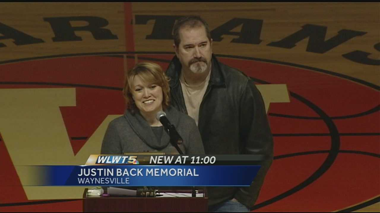 Parents and friends of Justin Back held a memorial service at Waynesville High School Friday night.