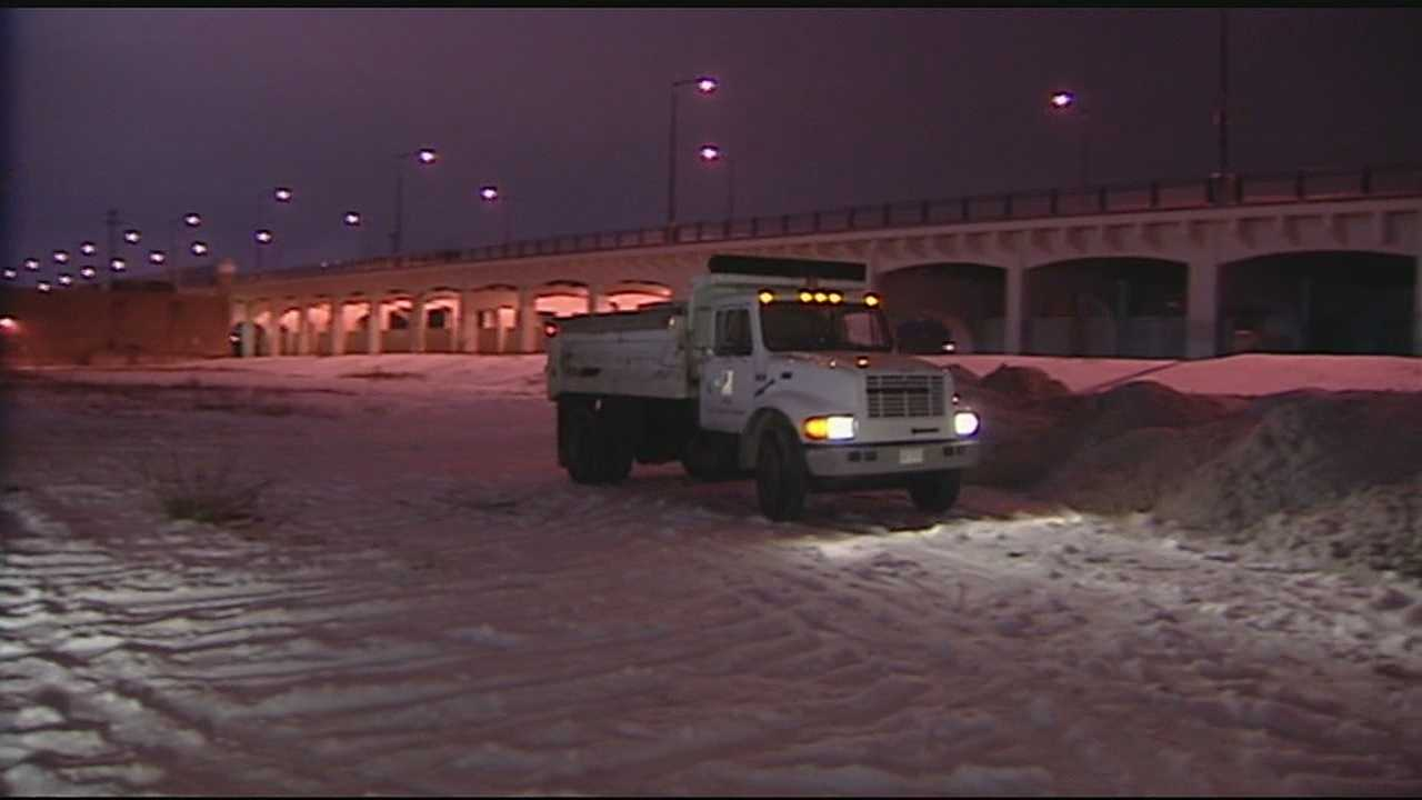 Road crews said when they started making progress on residential roads, the main arteries started freezing up again. Now plows are starting to come back into the neighborhoods but falling temperatures are slowing things down.